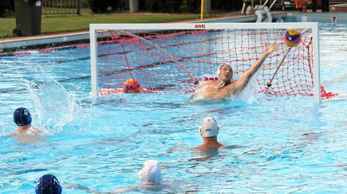 STONE'S THROW: SCU's Joel Stone scores with a penalty shot against Lennox Head in the latest round of FNC Water Polo.