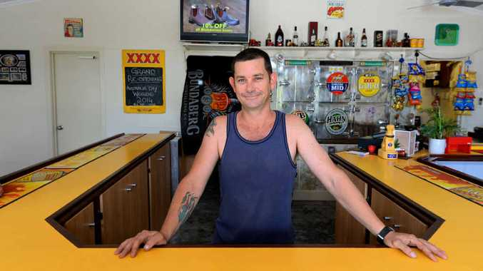 HERE'S CHEERS: Bajool Hotel lessee Shawn Elliott is ready to welcome patrons to mark the official opening tomorrow. The High St pub was badly damaged by floodwaters on January 25 last year. PHOTO: CHRIS ISON ROK230114CBAJOOL4