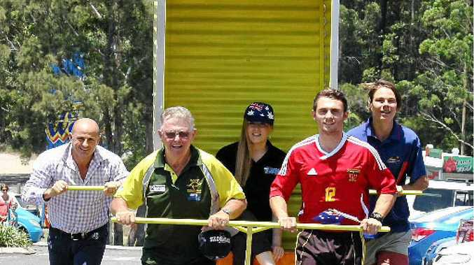 ALWAYS A HIGHLIGHT: Dunny race participants will include (from left) Hot 91.1's Peter Stevens, the Maroochy Roos Graeme Merith, the Sunshine Coast Sea Eagles' Jessica Horne, Sunshine Coast Fire member Reyze Kelly and Caloundra Panthers member Eric Hipwood.
