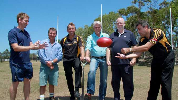 Working together to enhance the Tweed Coast Tigers AFL club's headquarters Trent Ryan, Gary Bryant, Rick van den Driest, Geoff Provest, David Heilbron and Chris Hawkins.