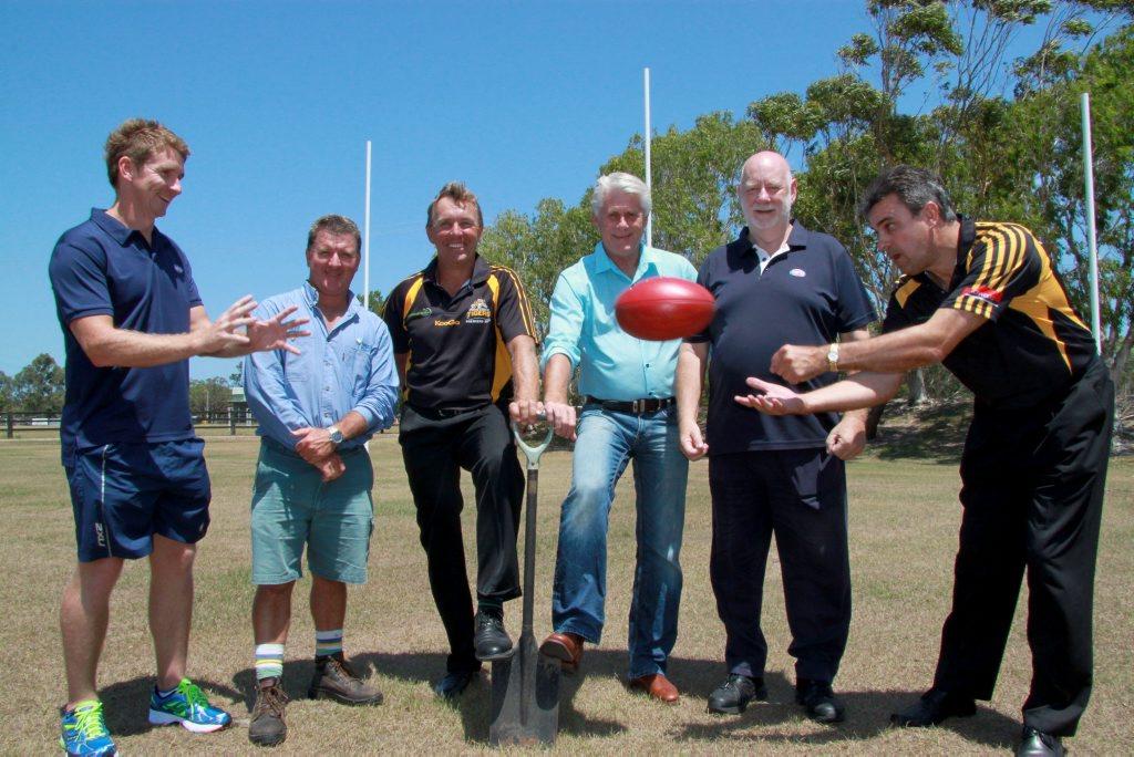 Working together to enhance the Tweed Coast Tigers AFL club's headquarters Trent Ryan, Gary Bryant, Rick van den Driest, Geoff Provest, David Heilbron and Chris Hawkins.