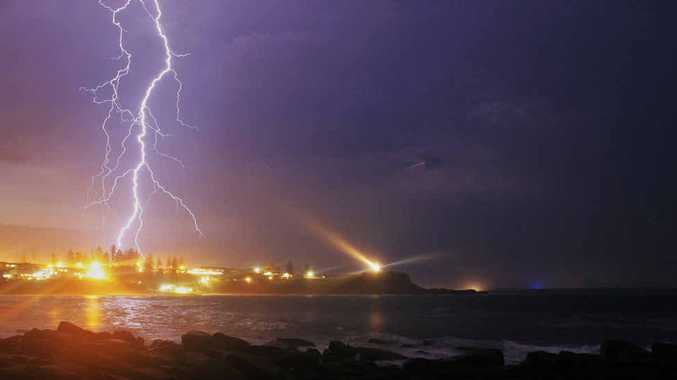 FIRING UP: Lightning striking over Yamba on Wednesday night. PHOTO: JAKEY PHILLIPS