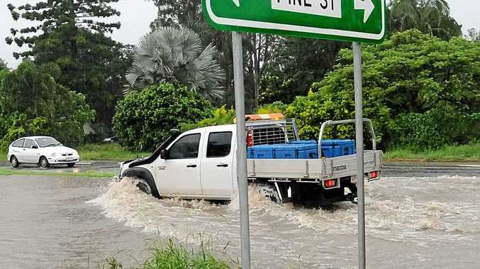 GET USED TO IT: Flash flooding on Bruce Hwy at Gympie.