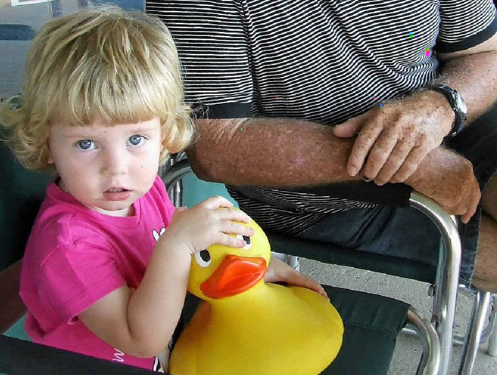 JUST DUCKY: Ted Cowley with Sophie Masters.