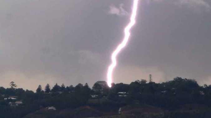 A lightning strike near the top of the Toowoomba Range.