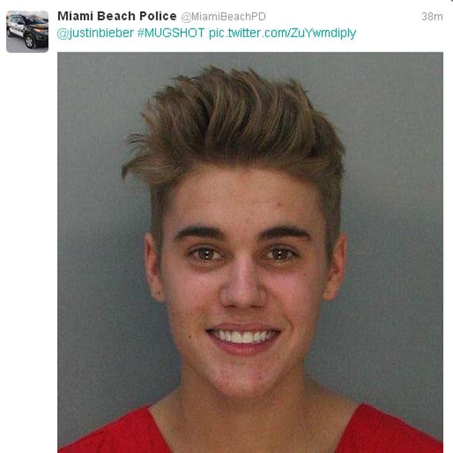 Justin Bieber's mugshot.