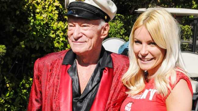 Hugh Hefner and wife Crystal Harris.