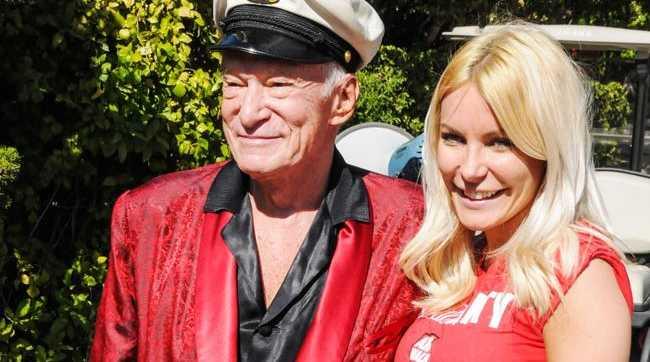 Hugh Hefner and wife Crystal Harris.