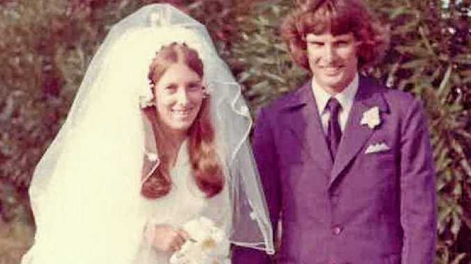 Joan and Glen Hall at their wedding on Australia Day in 1974.