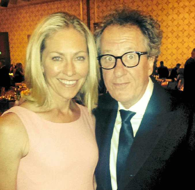 GOING FLORAL: Forestry's Tiffany Cherry with Geoffrey Rush at GDay USA 2014.