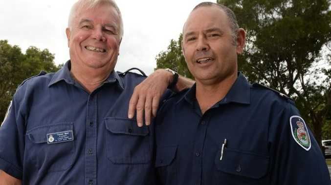 Tweed Coast Rural Firefighters Trev Bird and Peter Baird were on the gate at Pottsville.