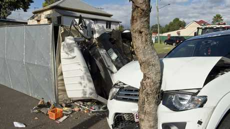 A truck crashed into a parked ute in North Toowoomba.