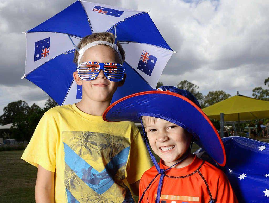 PROUD AUSTRALIANS: Dante Jack and Brock Thompson at the Australia Day fun day at Bundamba Swim Centre.