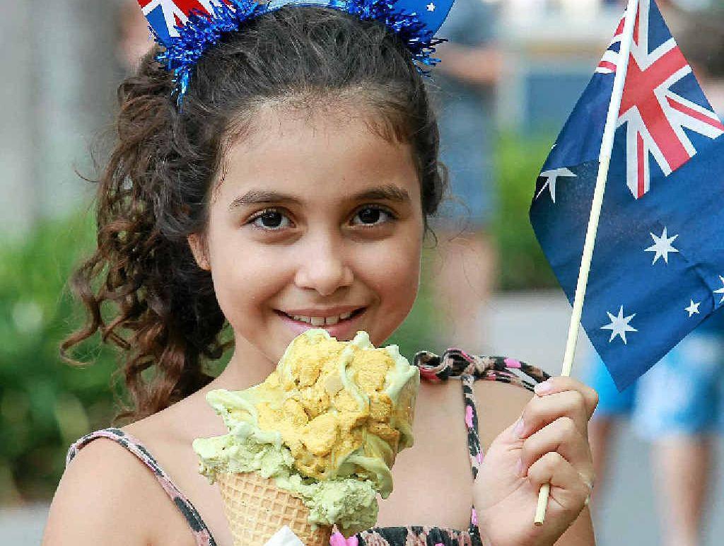 TRUE BLUE: Abigail Andronicos, 9, tries the Great Australian Gold Rush gelato.