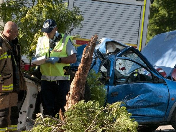 Emergency services at this morning's fatal traffic crash in Toowoomba.