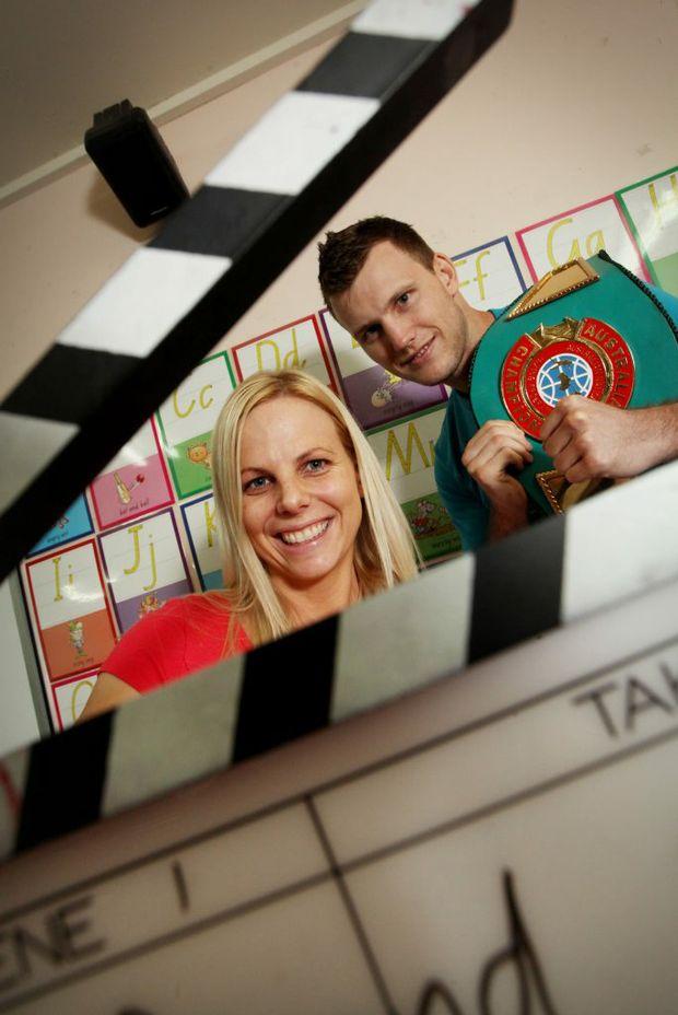 Actress Jo Christiaans and boxer Jeff Horn are both teachers at Pallara State School. Photo Inga Williams / The Satellite