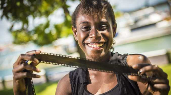 SURPRISE GONG: Xzannjah Matsi was awarded Best Actress at the 2013 New Zealand Film Awards for her role as Matilda in Mr Pip, alongside Hugh Laurie.