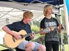 Performing was Oskar Sweeney and Jake Moye at the Cre8 Coffs Coast Arts Festival held at Opal Cove. Photo: Leigh Jensen/ The Coffs Coast Advocate