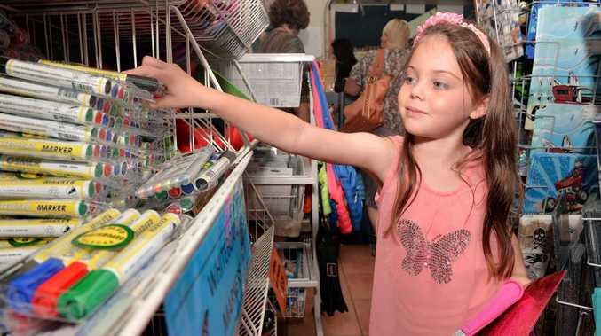 Sara Reid is getting ready for Grade 1 at Carrolls Newsagency Photo Tony Martin / Daily Mercury