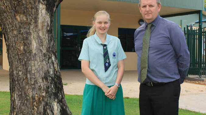 CLASS ACT: Year 12 student at The Cathedral College Brydie Parle and Deputy Principal Gerard Raven look forward to big years in the classroom.