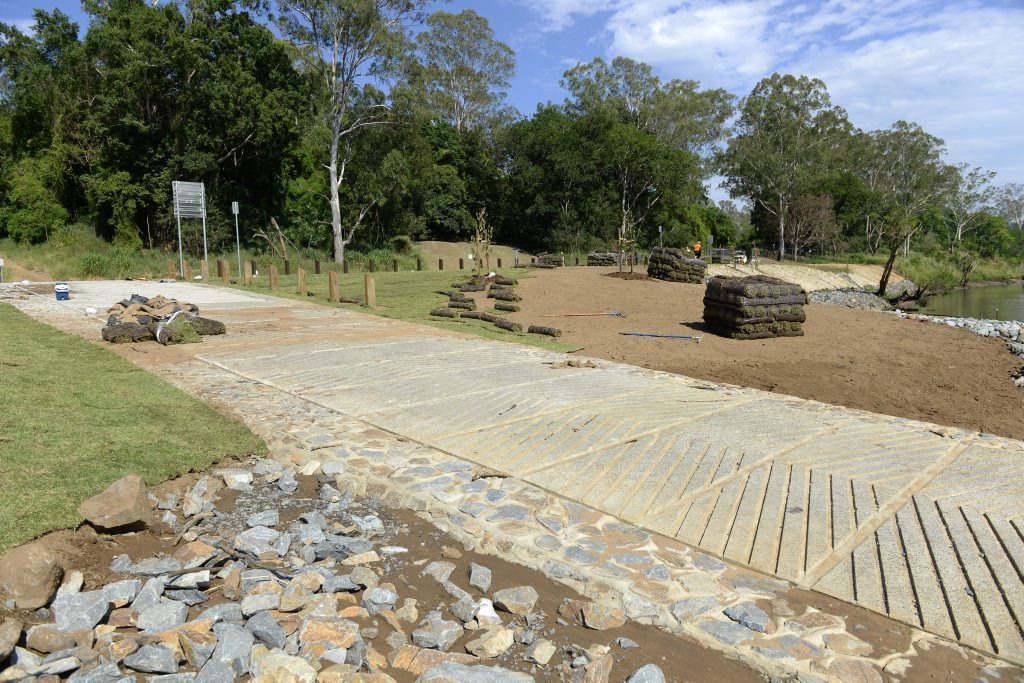 TURF ROLLED OUT: Rebuilding of Riverside Park in Karalee is nearing completion after flood destroyed the park including the boat ramp.