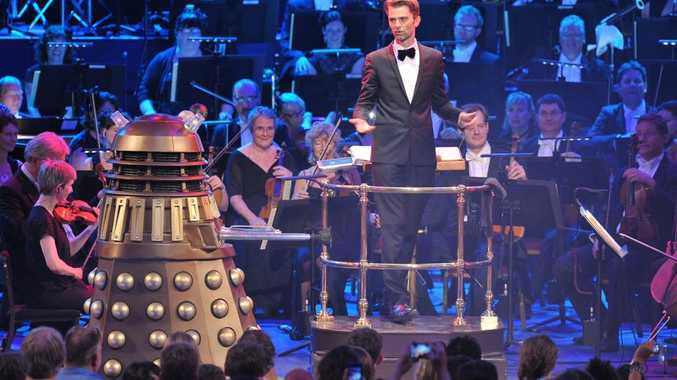 Conductor Ben Foster in a scene from the Doctor Who Symphonic Spectacular in the UK.