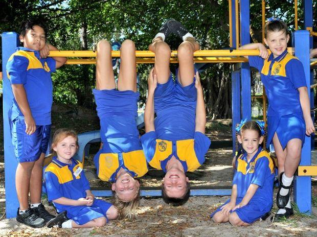 BACK TO SCHOOL: Suhail Rewan, Matika Ghilloti, Mikaela Lillis, Jett Elmy, Paige Stanton-Cook and Aleia Golding at Gladstone South State School.