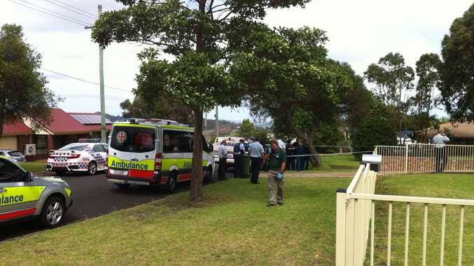 The crime scene in Newtown, Toowoomba, where two people have reportedly been stabbed to death.