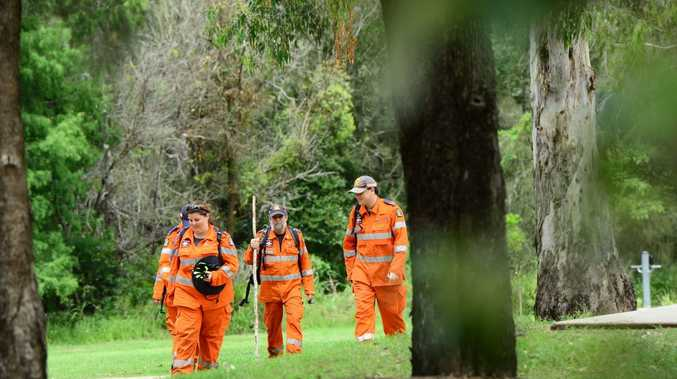Police and SES volunteers continue to search for a missing woman in bushland near Goupong Park in Collingwood Park. Photo: David Nielsen / The Queensland Times