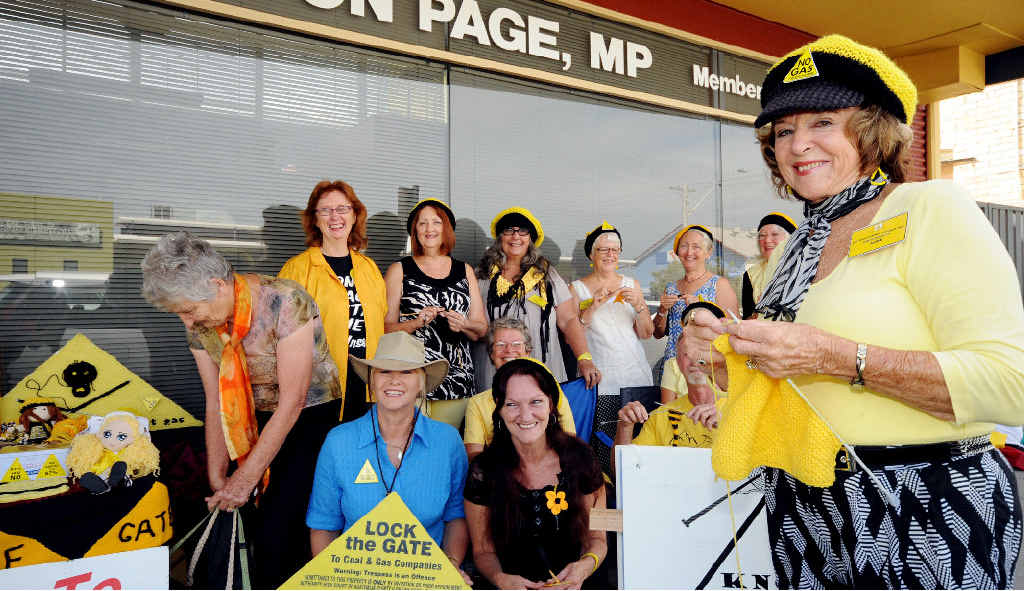 LOOP EXPANDS: Anne Thompson and the Knitting Nannas Against Gas protest outside the Ballina office of MP Don Page yesterday.