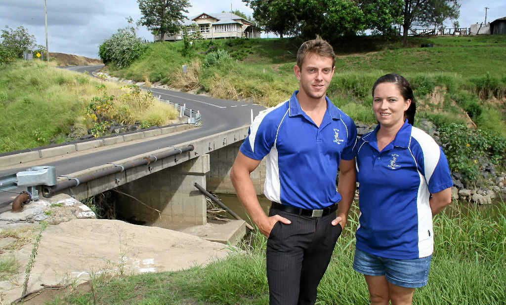 LIFE SAVERS: Gatton Swim Centre staff Leland Wilce and Casey Johns helped to rescue a Kuwaiti man from the Lockyer Creek last week. INSET: Casey's photo from the time of the rescue.
