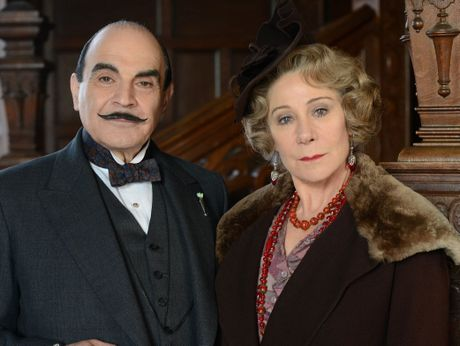David Suchet as Poirot and Zoe Wanamaker as Ariadne Oliver in the new season of Agatha Christie's Poirot starting on the ABC on Saturday night.