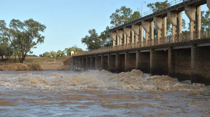 The Balonne River in flood just 12 months ago.