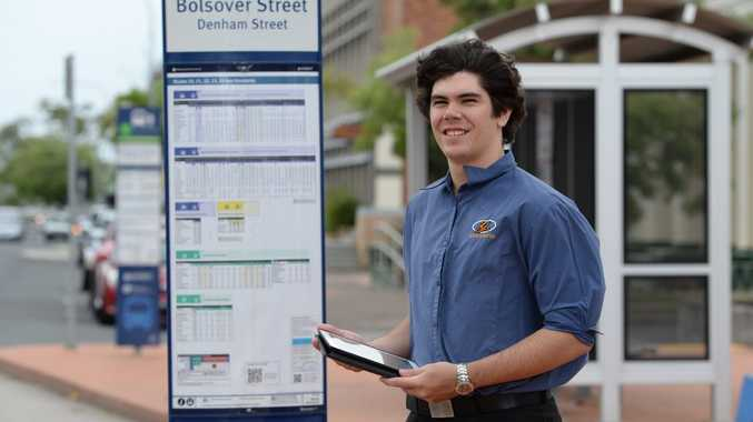 A new app called Live Time Table allows people to see in real time where they Youngs bus is. Nik Griffin from Youngs Bus Service demonstrates how to use the app at the Bolsover st Bus stop. Photo: Chris Ison / The Morning Bulletin