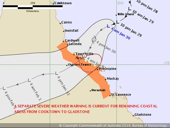 Tropical cyclone forecast track map.