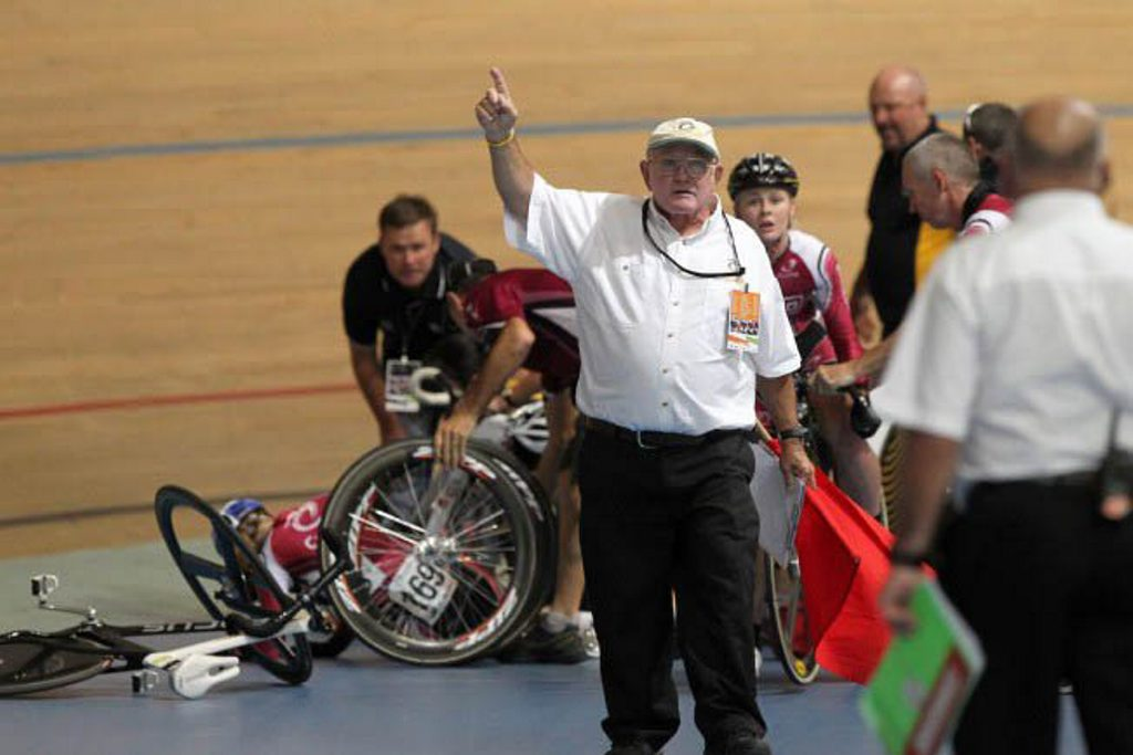 Sheridan Spark recovers from a crash at the Australian Track Cycling Championships in Adelaide Cycling Australia