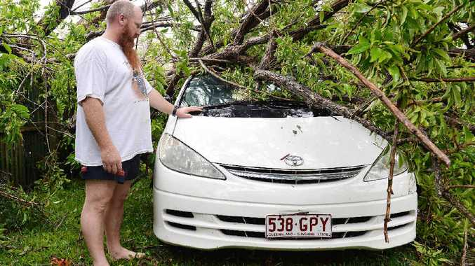 Mark Loadsman shows where a tree fell on his car.