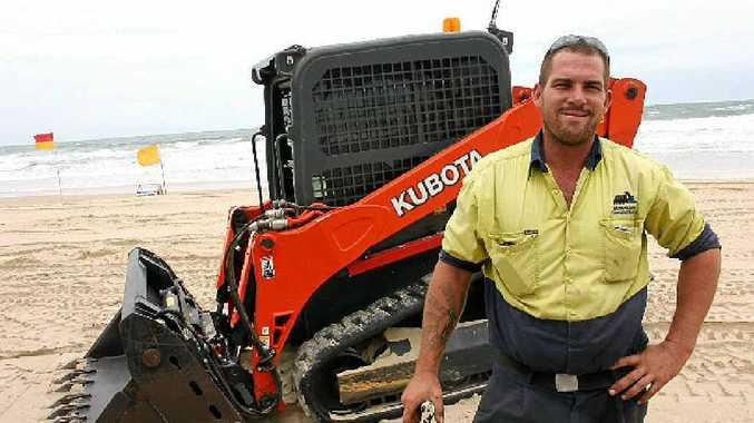 BEACH WORK: Excavations operator Kurt Semple has been shifting sand at Maroochydore Beach.
