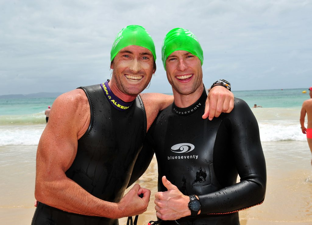 Image for sale: Milk Noosa Summer Swim. 1k and 2 k races.(L-R) Matt Dowling and Myles Burfield before their race. Photo Geoff Potter / Noosa News