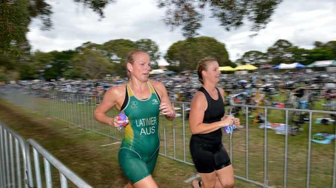 Gatorade Queensland Triathlon Series at Caloundra, round 6. Action from the run leg. Photo: Warren Lynam / Sunshine Coast Daily