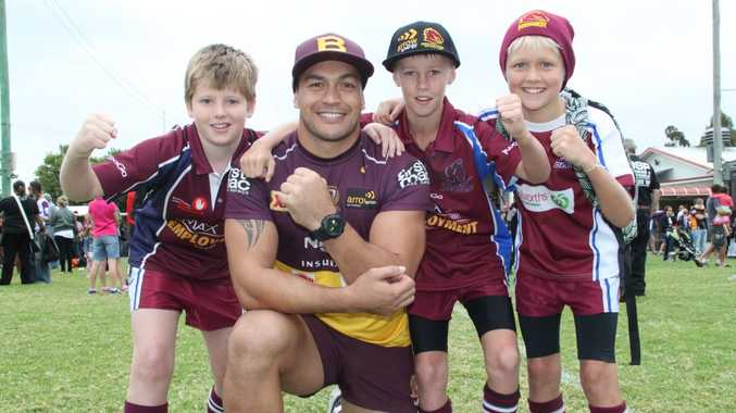 Sam Gillespie, Lachlan Wilkins and Ky Kirtley rub shoulders with Bronco Alex Glenn at the Broncos fan day.