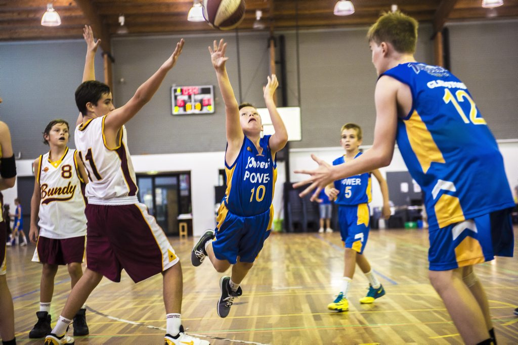 Gladstone's Cody Petry during Gladstone vs Bundaberg under 14 boys game at the Junior Rep Basketball Carnival at the Gladstone PCYC.