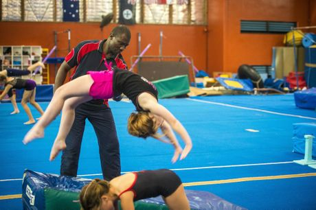 Ella Stevens, 13, during a training day at the Gladstone Gymnastics Club.