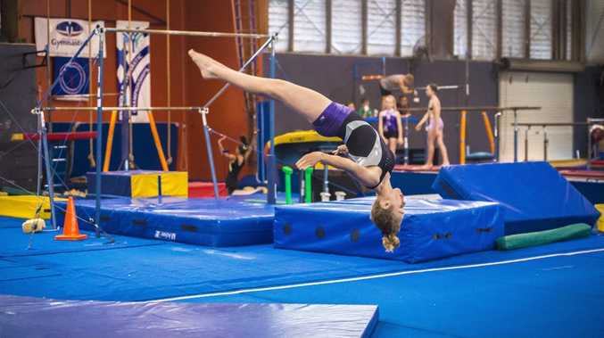 Georgia Camman, 13, during a training day at the Gladstone Gymnastics Club.