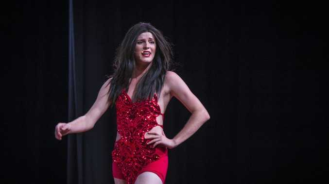 Sam Thompson during the performance of Up in Lights - A Night of Song, Drama and Drag at Gladstone State High School Hall.