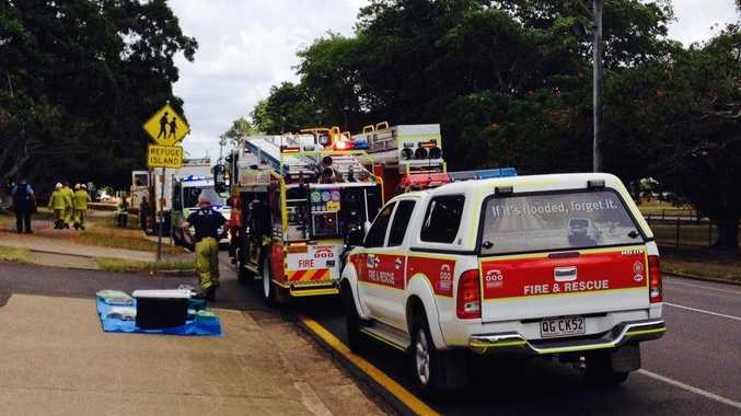 Emergency service workers are at the scene of a suspected chemical spill in Maryborough's Kent St.