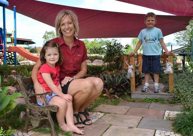 PROBE NEEDED: Kids on Calton teacher Tracy Salter, with Ella Wyllie and Hayden Godden.