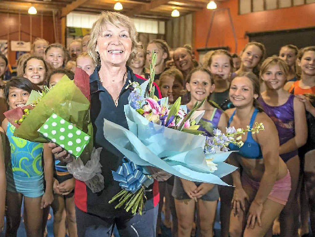 Mrs Anna Turetschek celebrated her 70th birthday in the company of her second family, the Gladstone Gymnastics Club students.