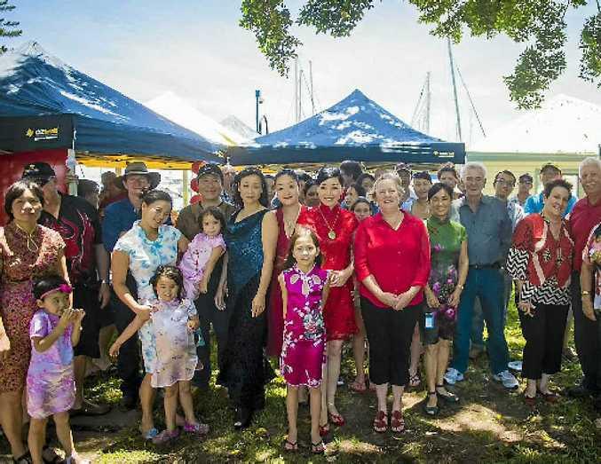 Community members at Chinese New Year celebrations at the Gladstone Marina.