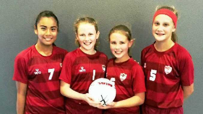 Futsal girls Jasmine Peters, Jaida Lee, Gemma Shaw and Nikola Williams.